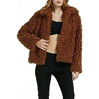 Bellivera Womens Leopard Print Faux Fur Cardigan Fluffy Coat Long Sleeve for Winter
