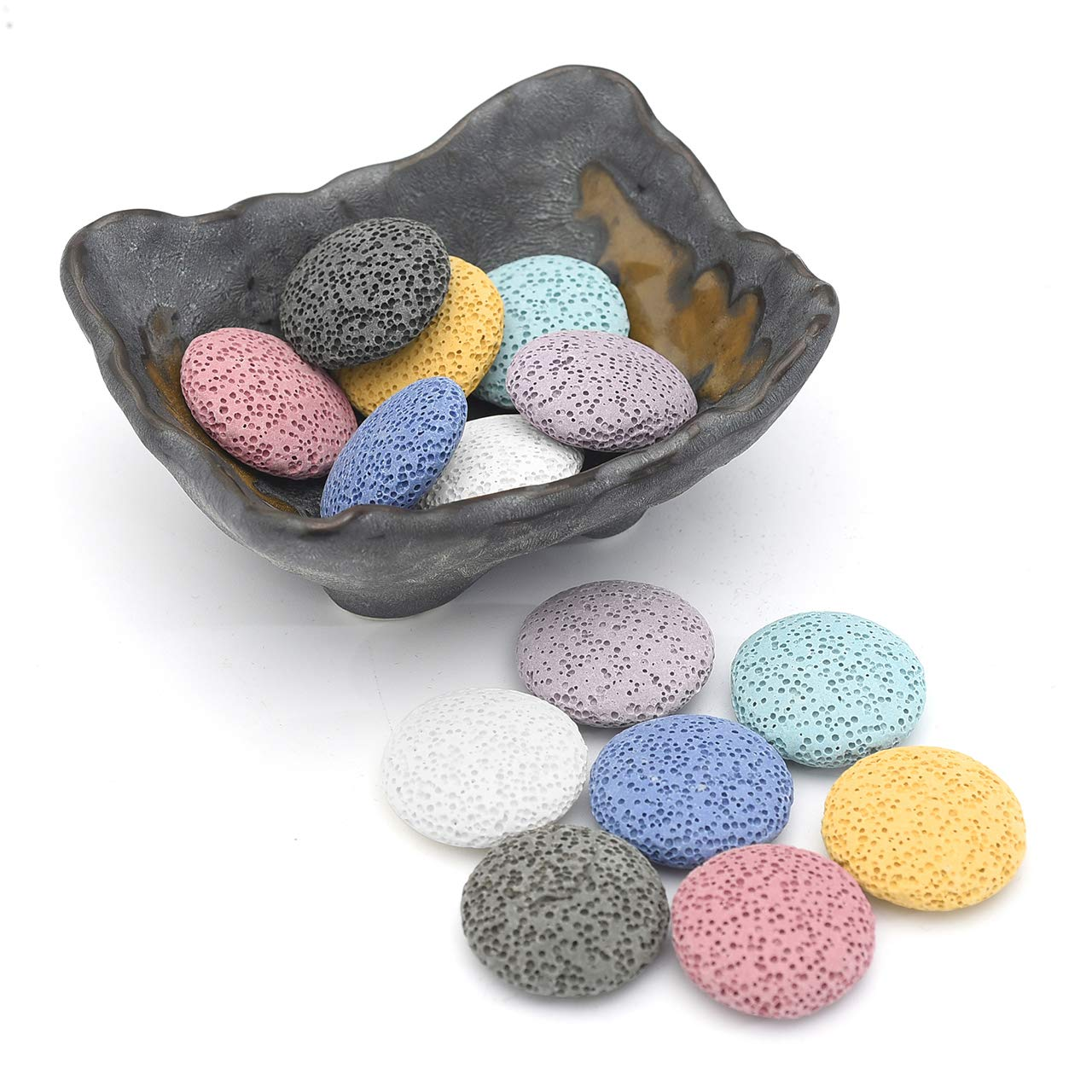 JOVIVI Aromatherapy Essential Oil Diffuser Home Decoration Set - 14pcs Lava Stone Beads & Vintage Irregualr Ceramic Essential Oil Holder Bowl