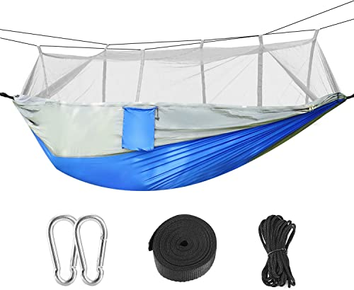 Kocaso Camping Hammock with Mosquito Net, Parachute Fabric Camping Hammock Easy Assembly Portable Hammock for Backpacking Camping Travel, Double Single Hammocks for Camping 102 L x 55 W