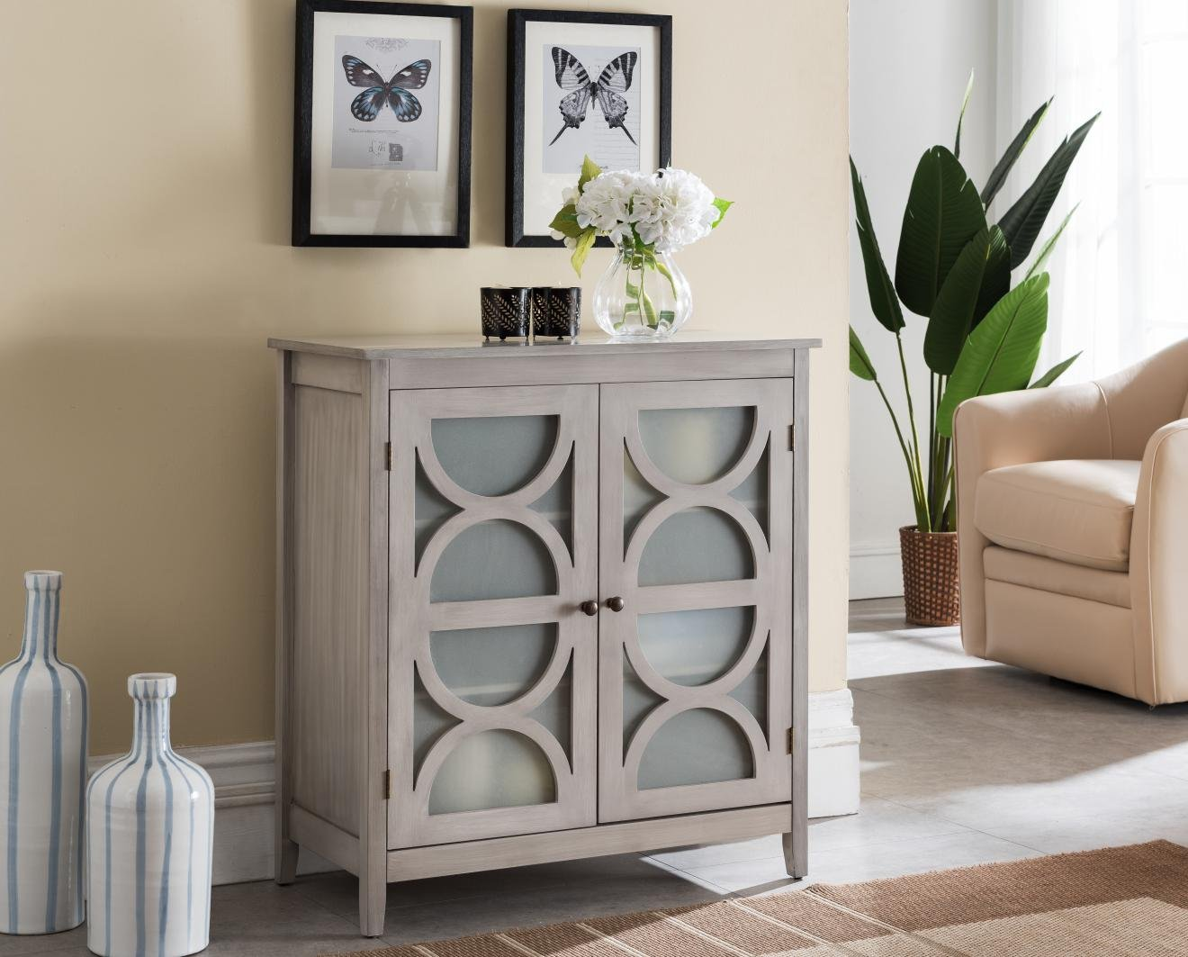 Kings Brand Furniture - Folsom Wood Console Table/Accent Cabinet, Wash Gray - Add a sophisticated and elegant piece to your home with this beautiful wash gray double door cabinet. Provides plenty of space to store your extra dishes, or other necessary items. Finish: Wash Gray; Bronze Knobs. Materials: Wood; Frosted Glass Cabinet Doors - sideboards-buffets, kitchen-dining-room-furniture, kitchen-dining-room - 71%2BPKizxFKL -