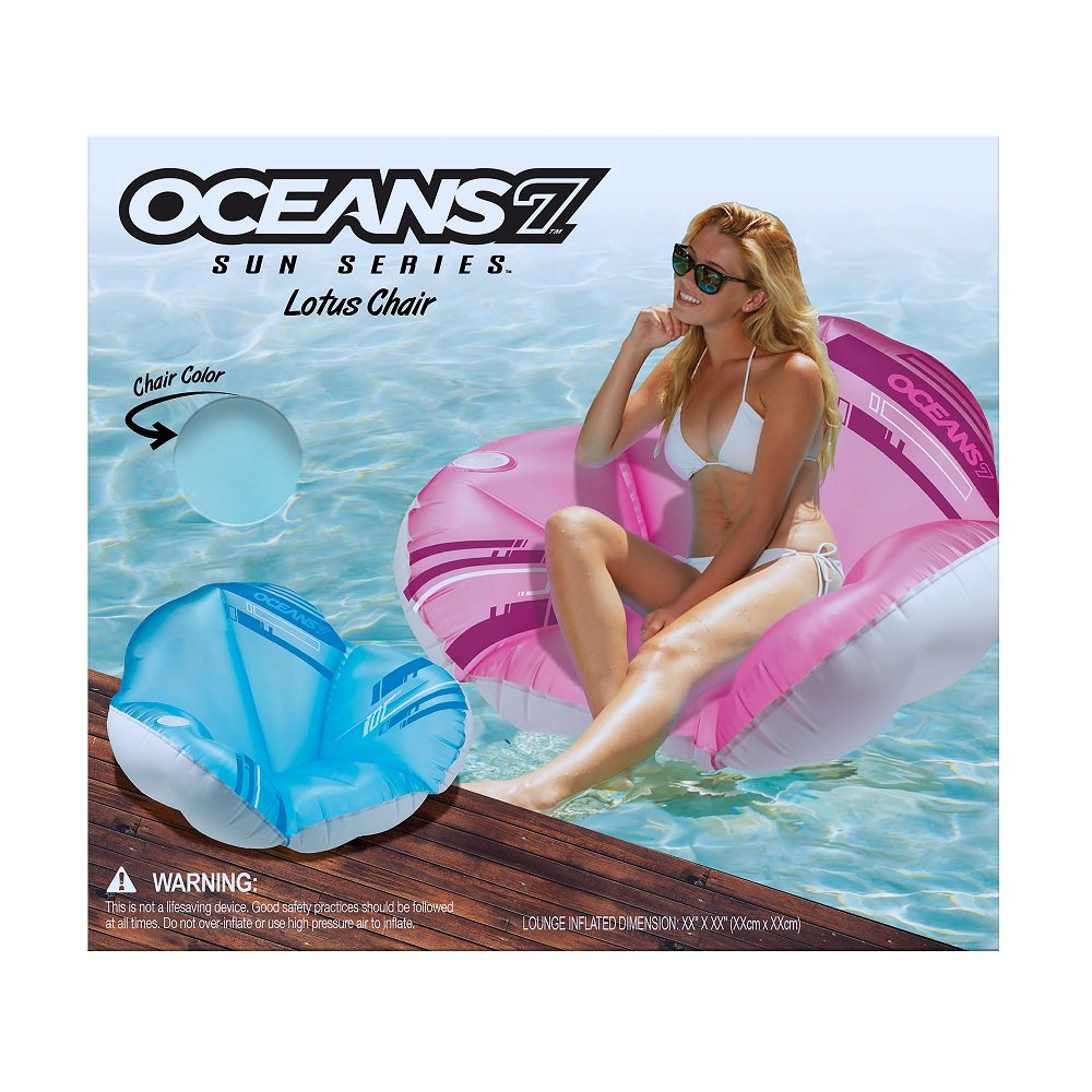 Blue//White Beverage Holder Oversized Inflatable Pool Float Oceans7 Lotus Floating Chair Age 15 and Up Aqua Leisure-Domestic Toys O7L11253BL