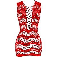 YLei Womens Hot Fishnet Lingerie Uniform Temptation Hollow Out Sexy Chemise Babydoll Mini Dress