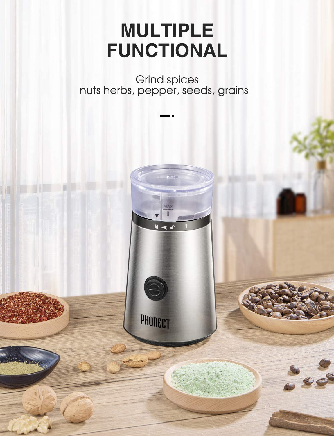 Coffee Grinder Electric, 150W Blade Spice Grinder, Portable Stainless Steel Grinder, Removable Easy Clean Bowl Grinder also for Seeds Grains Nuts, 12 Cups