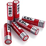 EBL 18650 Battery 3.7V 3000mAh Performance Li-ion Rechargeable Batteries with Stable Storage Boxes, 6 Packs