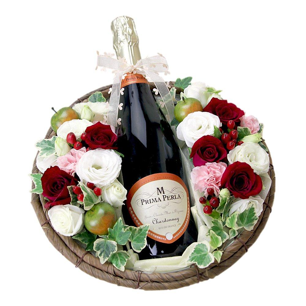 ワインと花 スパークリングワイン プリマペルラ 赤バラアレンジ B00LHJJ838