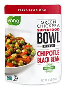 Vana Life's Foods 100% Natural Plant based SuperFood Bowl with Vegan Chipotle and Black Bean - Emergency Instant Protein Meals | Gluten Free, Vegan Free, Non-GMO - Product of The USA (Pack of 6)