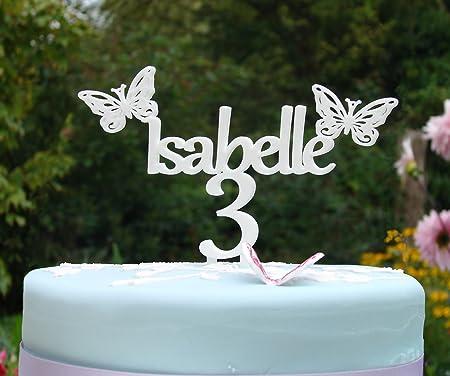 Adorno para tarta de cumpleaños con mariposas personalizable ...