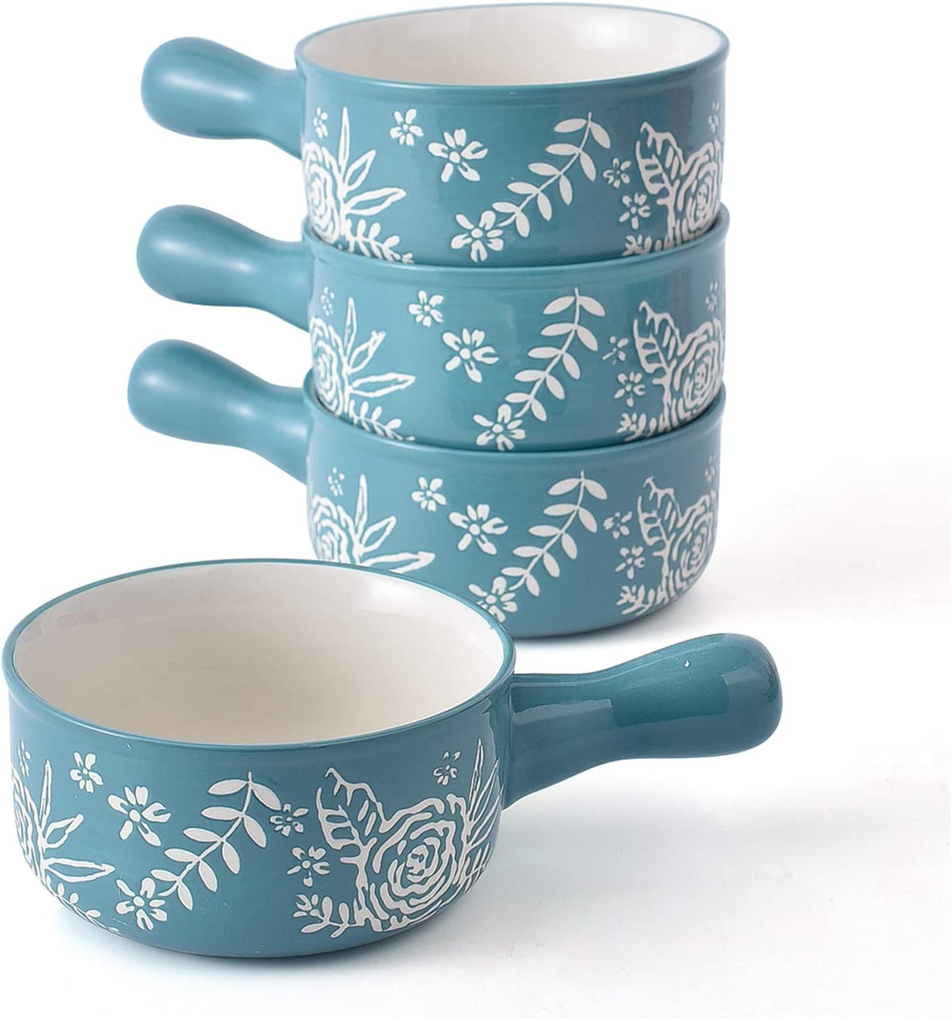 KINGSBULL HOME Soup Bowls with Handles Soup Bowls Ceramic Soup Bowl Soup Mug French Onion Soup Crocks Oven Safe
