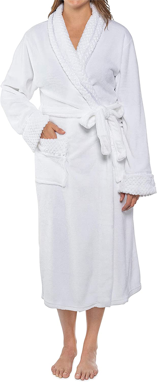 PAVILIA Deluxe Womens Fleece Robe, Satin Waffle Trim, Soft Warm Plush Bathrobe