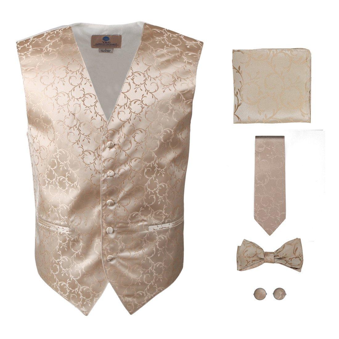 Y/&G Mens Fashion Groom Pattern Mens Vest Tie Bowtie Cufflinks Hanky Best Gifts YGA1B01