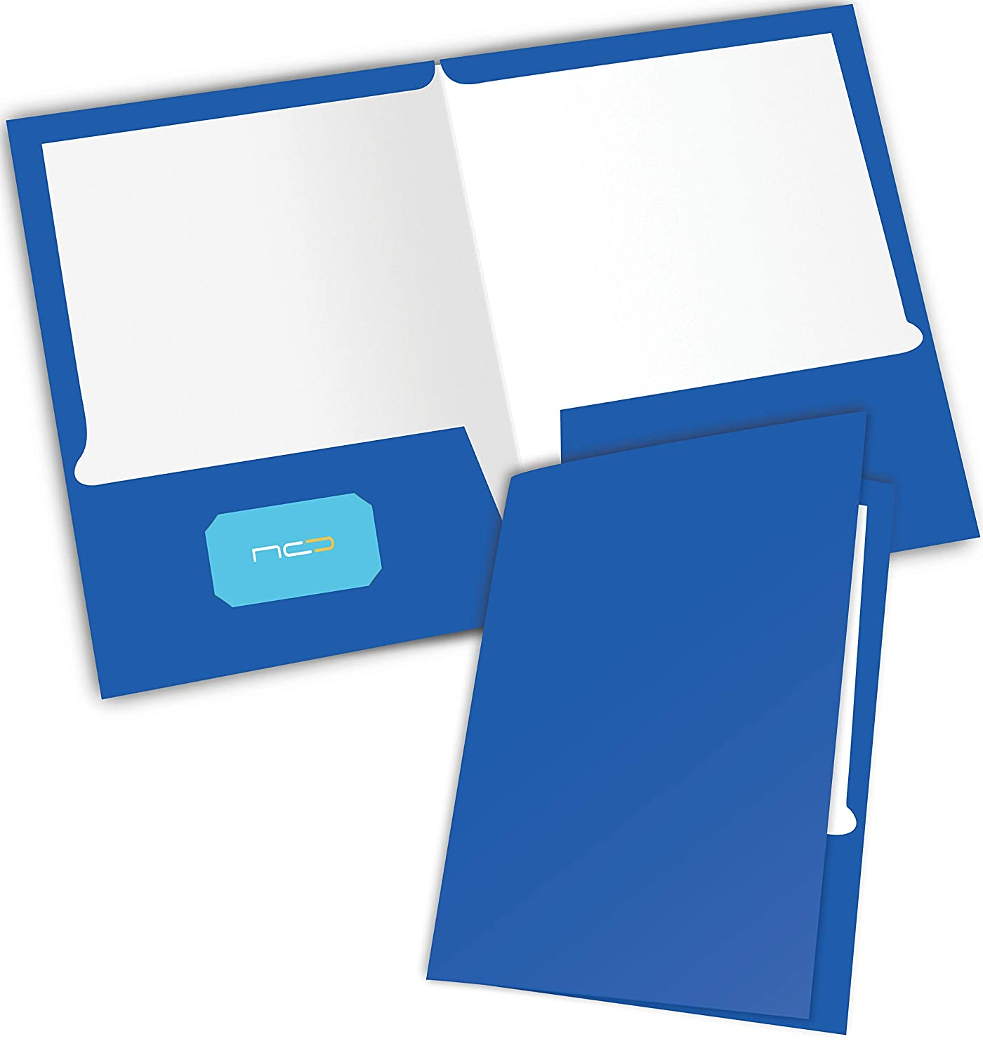 NEW GENERATION Ivory 2 Pocket Folders,Heavy Duty Glossy Laminated Paper Presentation Folders,Folder with a die-Cut Business Card Holder,Great for School,Home or Office organizing,6 Pack Folders
