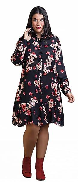 e6eee8eccee CARISAL FASHION, vestido morado manga larga con estampado floral, moda  curvy (50)