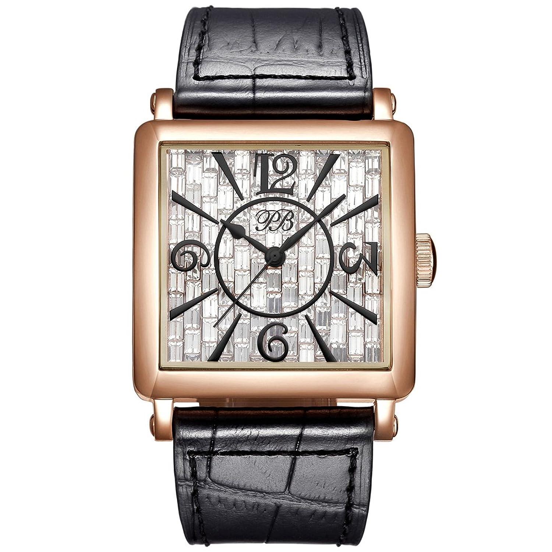PB Damen Armbanduhr Analog Quarz Eckig Österreich Edelsteine Quarzuhr Uhr Leder HL650PC