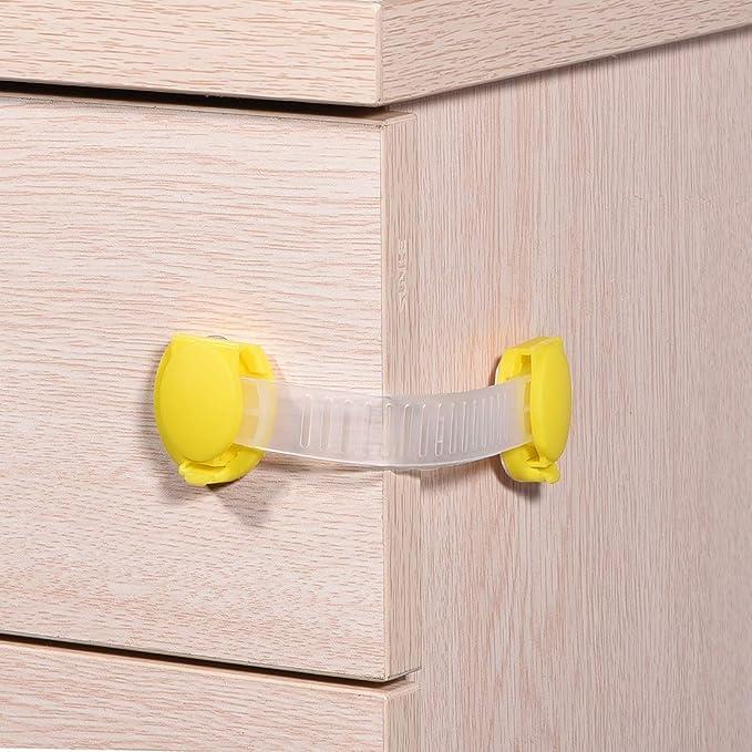 sourcing map 8pcs Armarios cerradura Adhesivos Prueba cerradura para Cajones Armarios Puertas Refrigeradoresetc Marr/ón