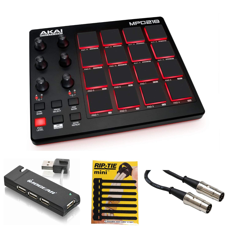 Akai Professional MPD218 MIDI USB Pad Drum Beat Controller + 4 Port USB Hub + MIDI Cable & Pack of Cable ties