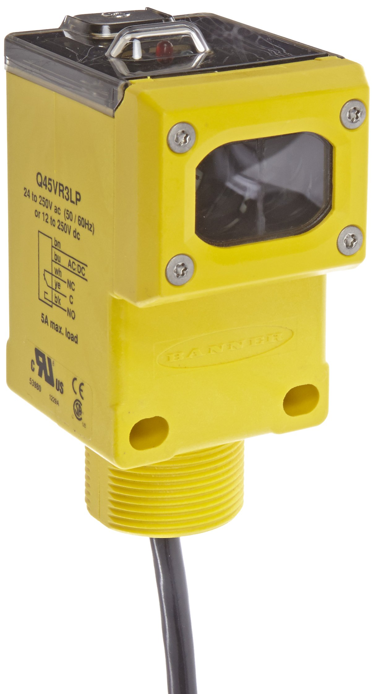 Banner Q45VR3LP Sensor, Retroreflective Mode, Polarized, PNP Output Type, 4-Wire European Style QD, 6m Range, 4 Wires, Universal 12-250VDCor 24-250VAC Supply Voltage,  Cable Length