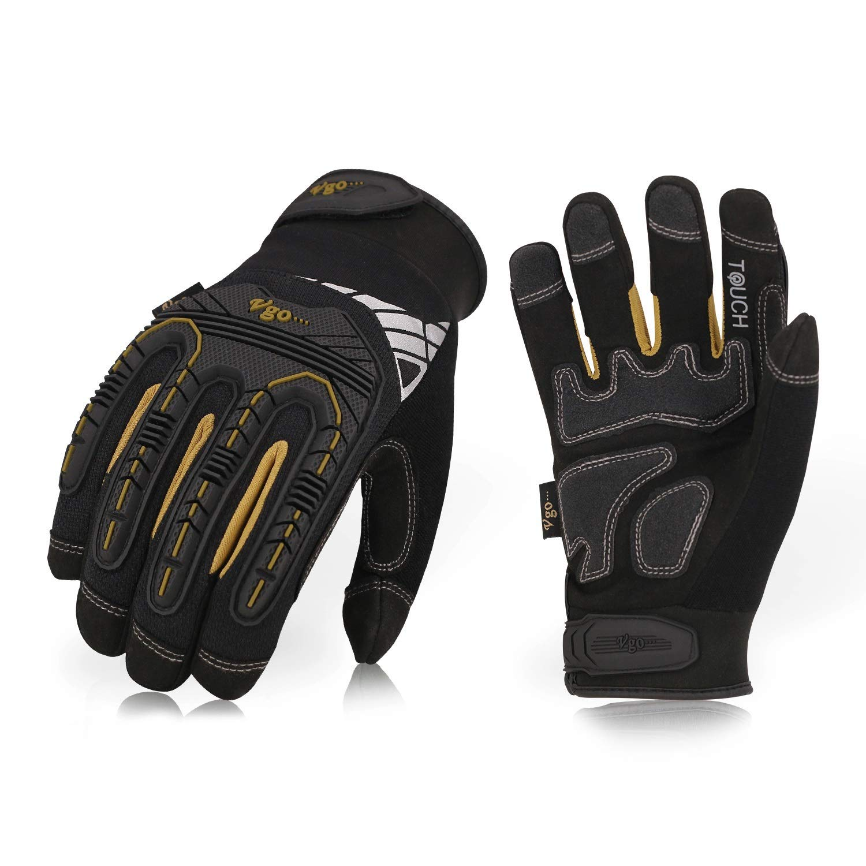 Vgo Glove High Dexterity Heavy Duty Mechanic Glove, Rigger Glove (Anti-vibration, Anti-abrasion, Touchscreen, TPR knuckle, EVA padding) (1 pair, Size 9/L-Black, SL8849)… SL8849)... Laborsing Safety Products Inc.