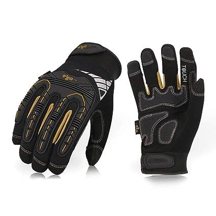 Vgo 3 Paare hohe Mechnische Arbeitshandschuhe, für große Belastungsarbeit, Vibration-Schutz-Handschuhe, Heavy Duty (8/M, Schw