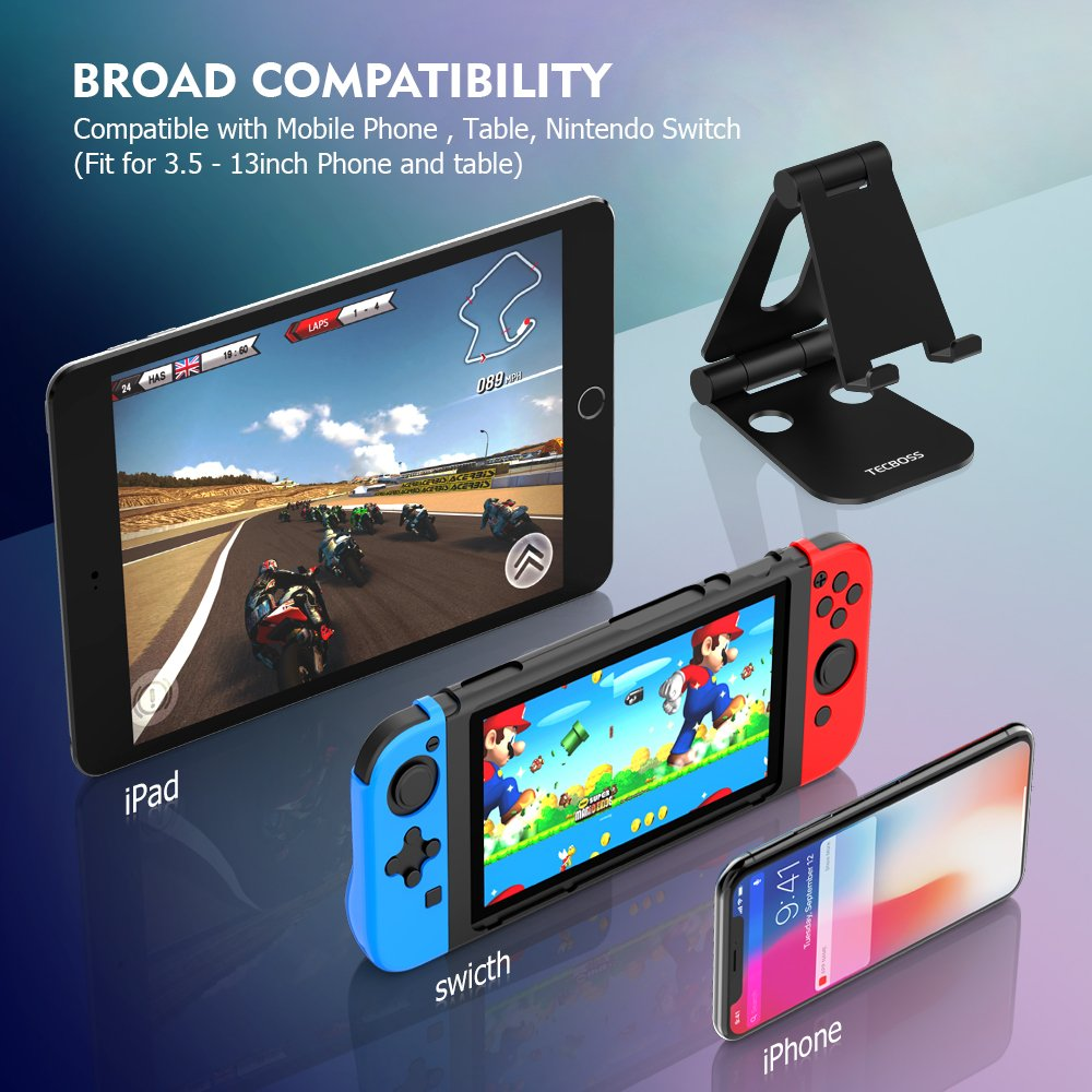 (2 in 1)Tecboss Tablet Stand, Multi-Angle Adjustable Desktop Cell Phone Stand Holder for Nintendo Switch, iPad mini Air 2 3 4 Pro, iPhone 6 7 8 X Plus - Easy Adjust & Take Anywhere by Tecboss (Image #2)