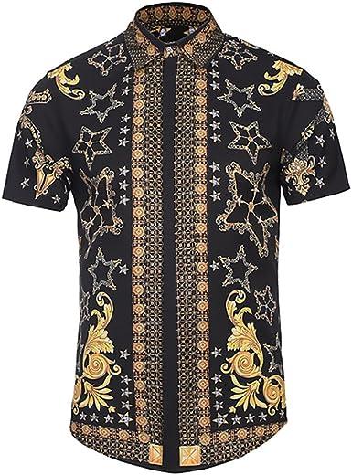 BOLAWOO Camisa Hombre Verano Elegantes Estampadas Vintage Hippies Street Style Moda Manga Corta Cuello Solapa Un Solo Pecho Camisas Blusas: Amazon.es: Ropa y accesorios