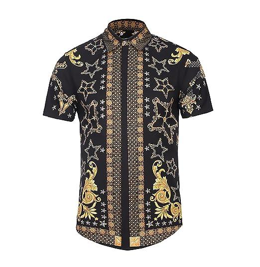 BOLAWOO Camisa Hombre Verano Elegantes Estampadas Vintage Hippies ...