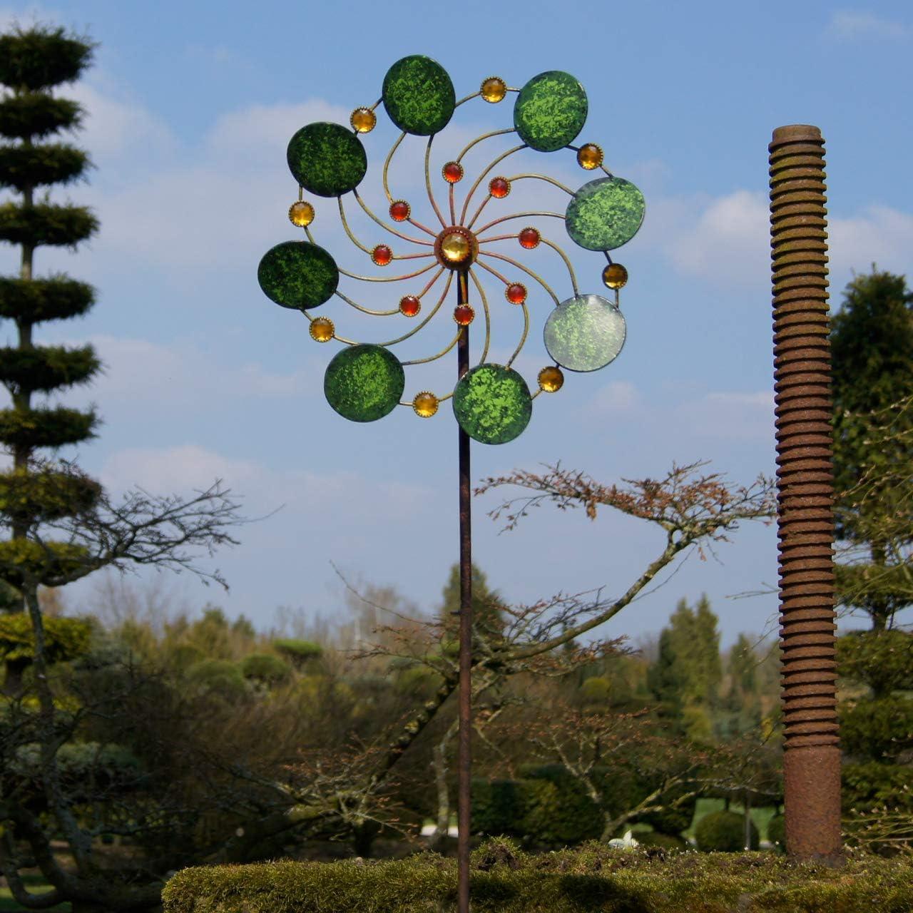 Wetterfest inkl CIM Metall Windrad Ø34cm leichtgängig drehend Exotic Flower Samoa Gesamthöhe: 122cm 3-teiligem Standstab Colours in Motion mit Kugellager