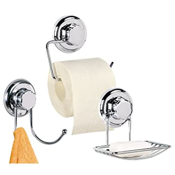 Tatkraft Megalock Trio Bathroom Accessory Set No Drilling Toilet