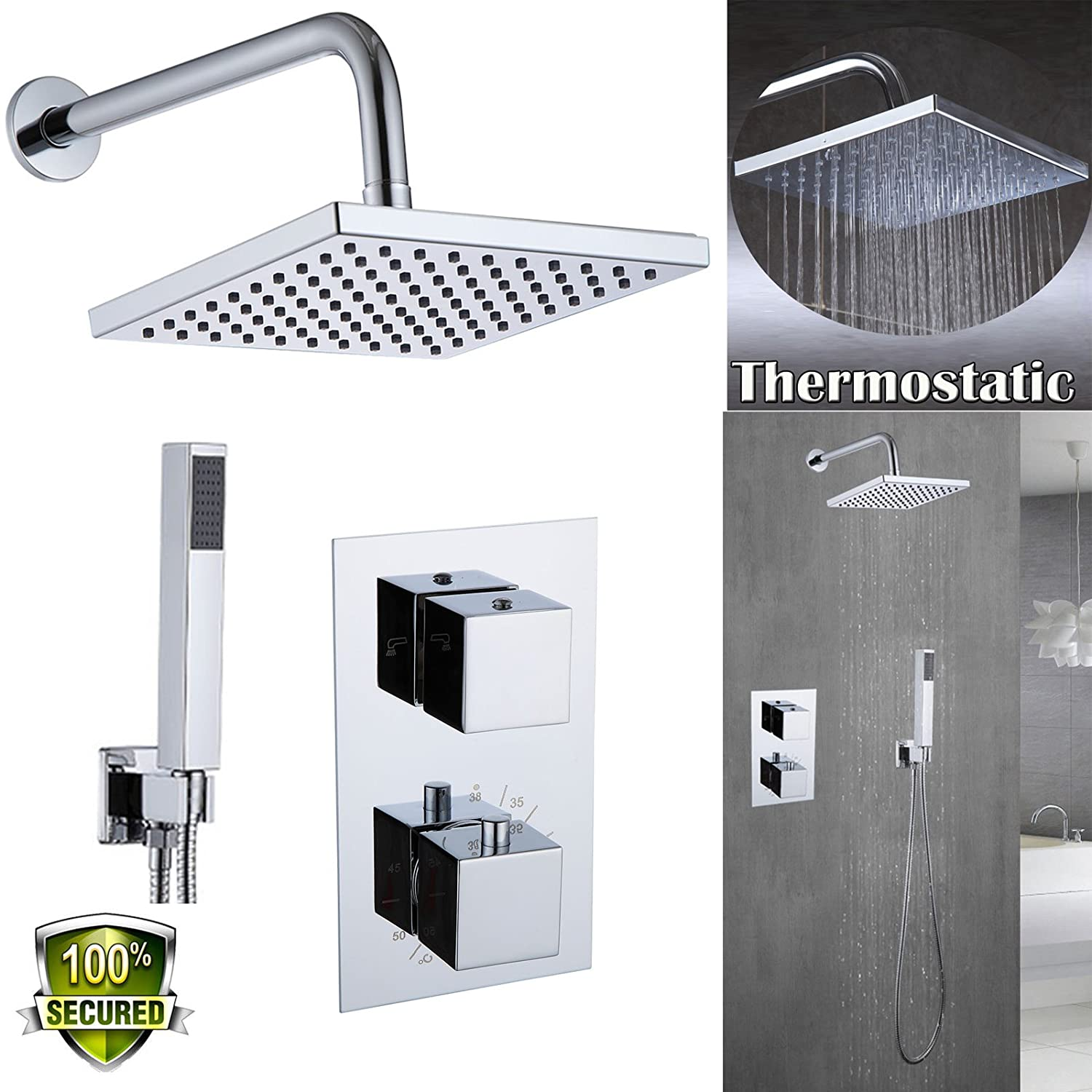 dicn Shower System Wall Mounted Set Concealed Faucet Brass Switch Thermostatic Mixer Valve + 8