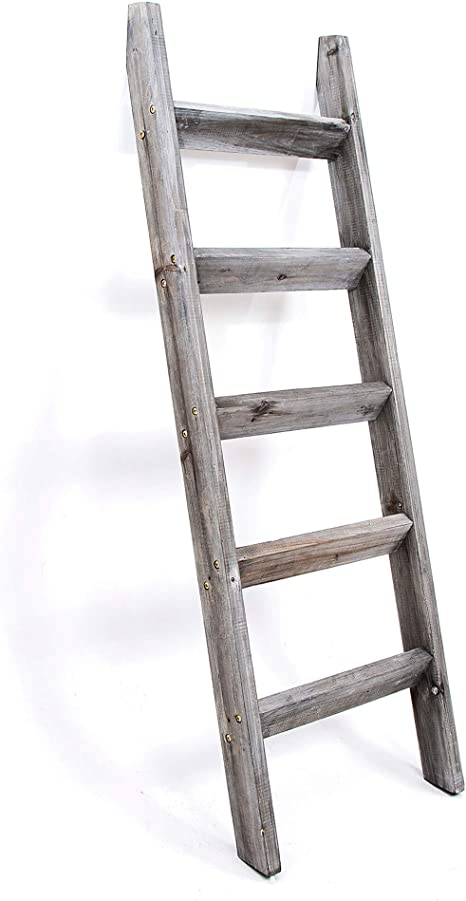 Blanket Ladder 5 Ft Premium Wood Rustic Decorative Quilt Ladder Gray White Vintage Wooden Decor Throw Blankets Holder Rack Kitchen Dining