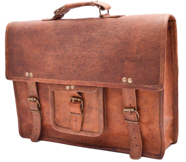 Handcrafted exports 15'' Vintage Leather Laptop Briefcase Satchel Messenger Bag