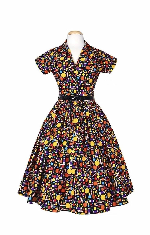 1950s Rockabilly Dresses Bernie Dexter 1950s Kelly Candy Print Swing Dress $165.00 AT vintagedancer.com