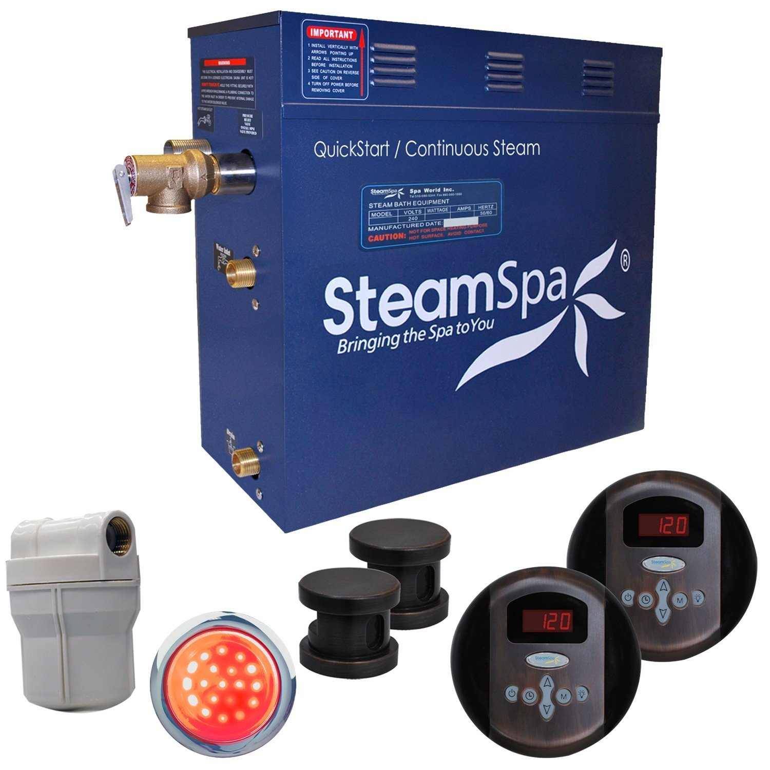 Steam Spa RY1200OB Royal 12 KW Quick Start Acu-Steam Bath Generator Package, Oil Rubbed Bronze