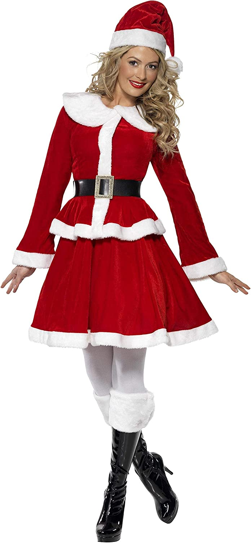 Rouge bonnet avec veste ceinture et manchon jupe Smiffys Costume de M/ère No/ël
