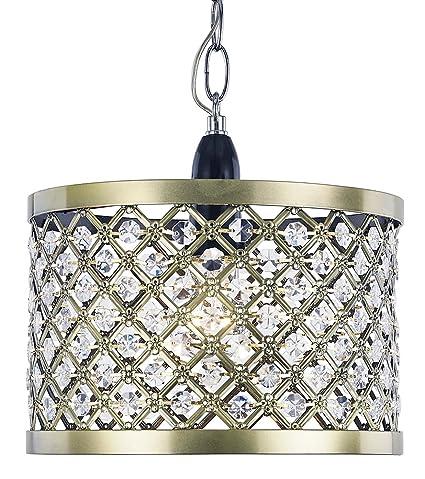 Moderna lámpara de techo de latón antiguo con pantalla con ...