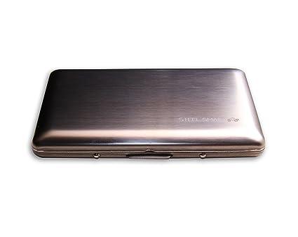 Cartera Ultra delgada de Acero Inoxidable Steel Smart, Estilo Redondeado, Especial para Viajes,
