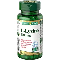 Nature's Bounty L-Lysine Supplement, Helps Reduce the Recurrence of Herpes Simplex Virus, 1000mg, 60 Tablets