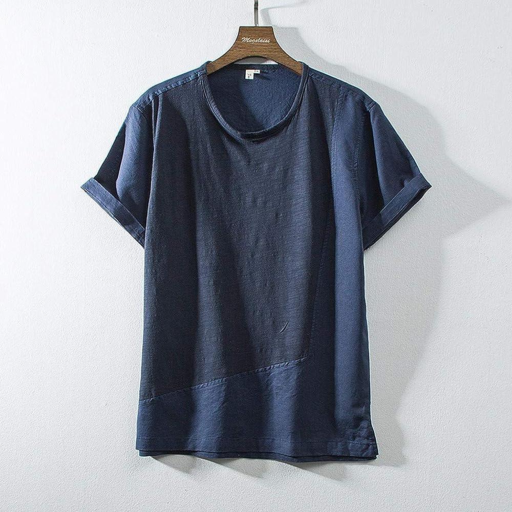 Color Sólido Sabana de Algodon Manga Corta Camisetas Retro Moda Hombre Tops Blusa Tipo W: Amazon.es: Ropa y accesorios