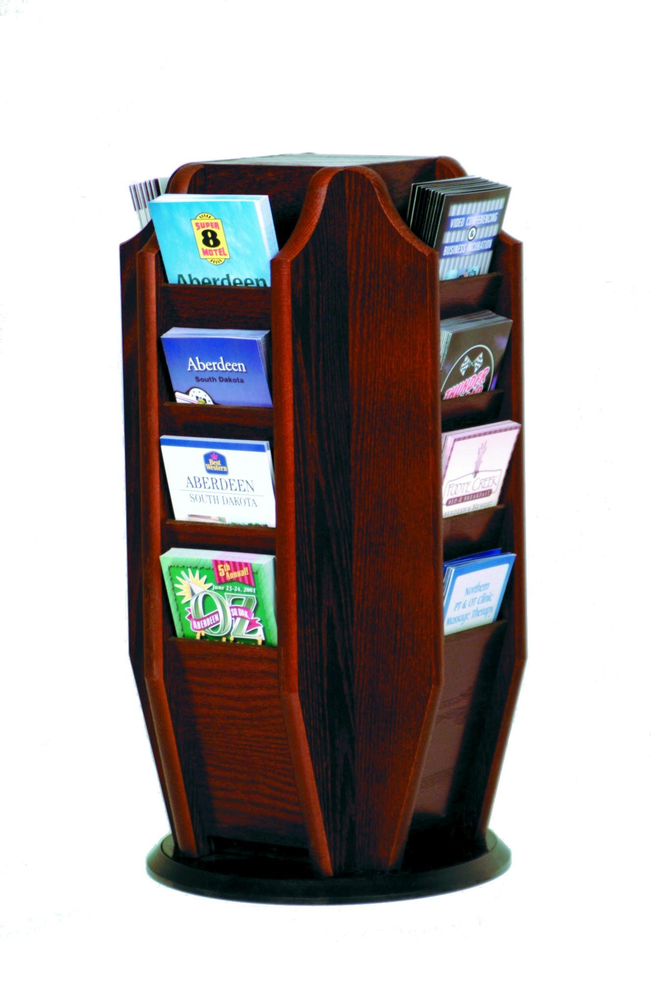 Four-Sided Revolving Countertop Brochure Display Rack (Dark Red Mahogany)