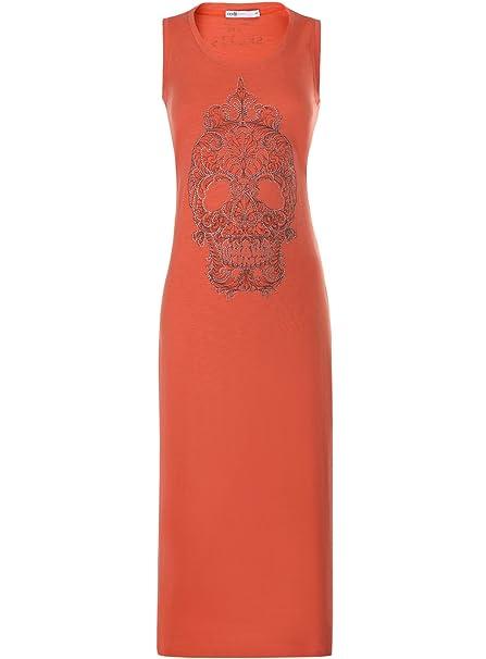 oodji Ultra Mujer Vestido Largo con Calavera de Pedrería, Naranja, ES 34 / XXS
