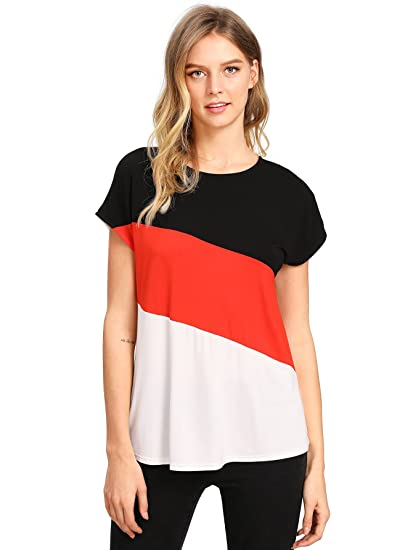 0fa3c92c89ba ROMWE - T-Shirt - Femme Rouge Rouge M  Amazon.fr  Vêtements et ...