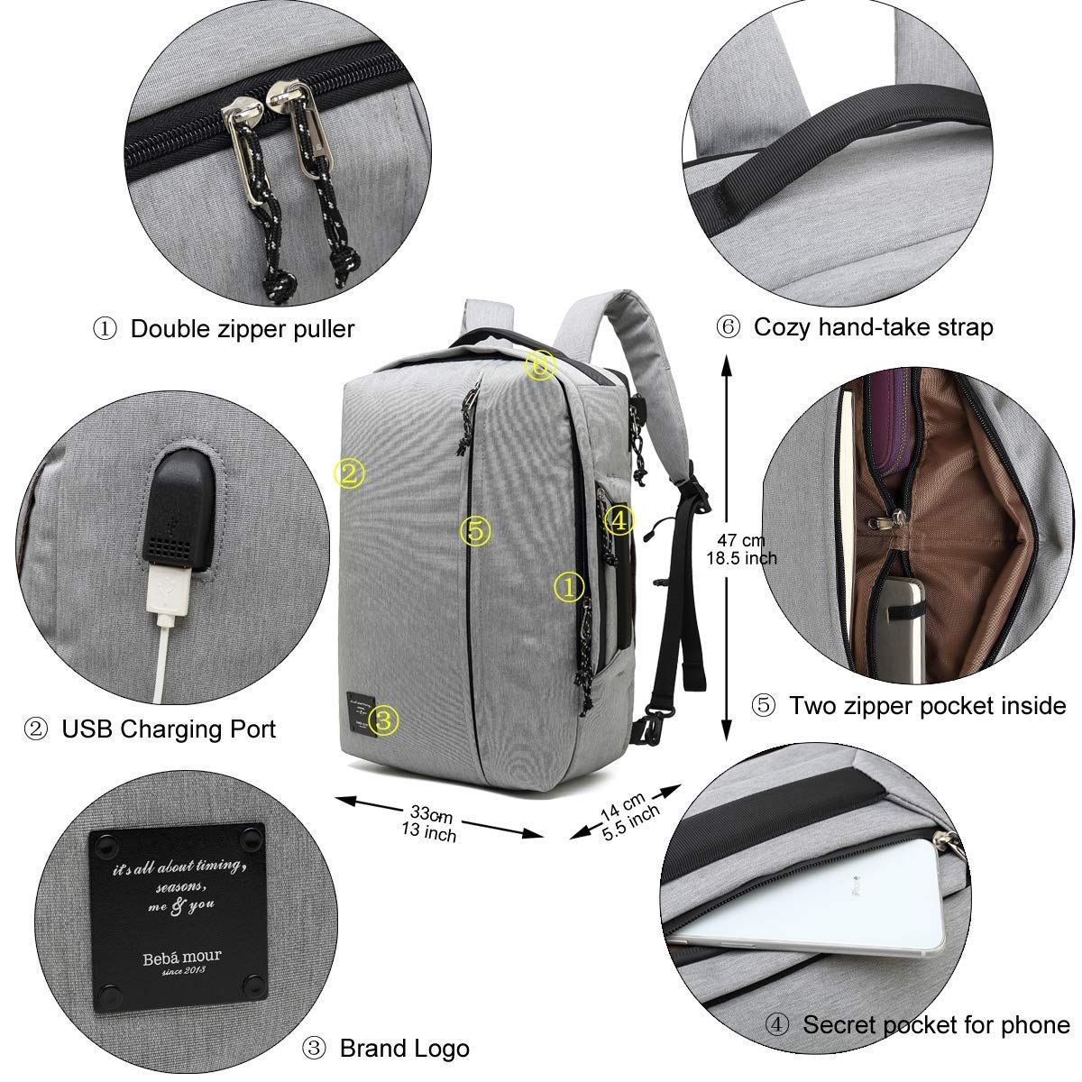 """Bebamour Mens Backpack Casual Daypack 3 Way Travel Backpack 20L Flight Approved Weekender Carry on Backpack fits up to 15/"""",Business Backpack with USB Charging Port Grey"""