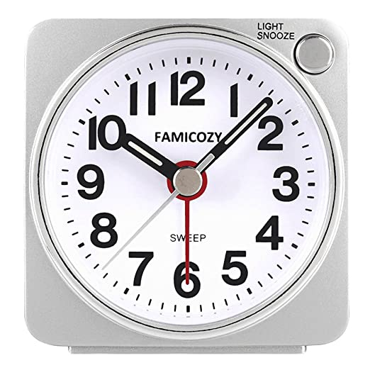 Acctim Ingot Quartz Travel//Mini Alarm Clock Snooze//Light Analogue Face SILVER
