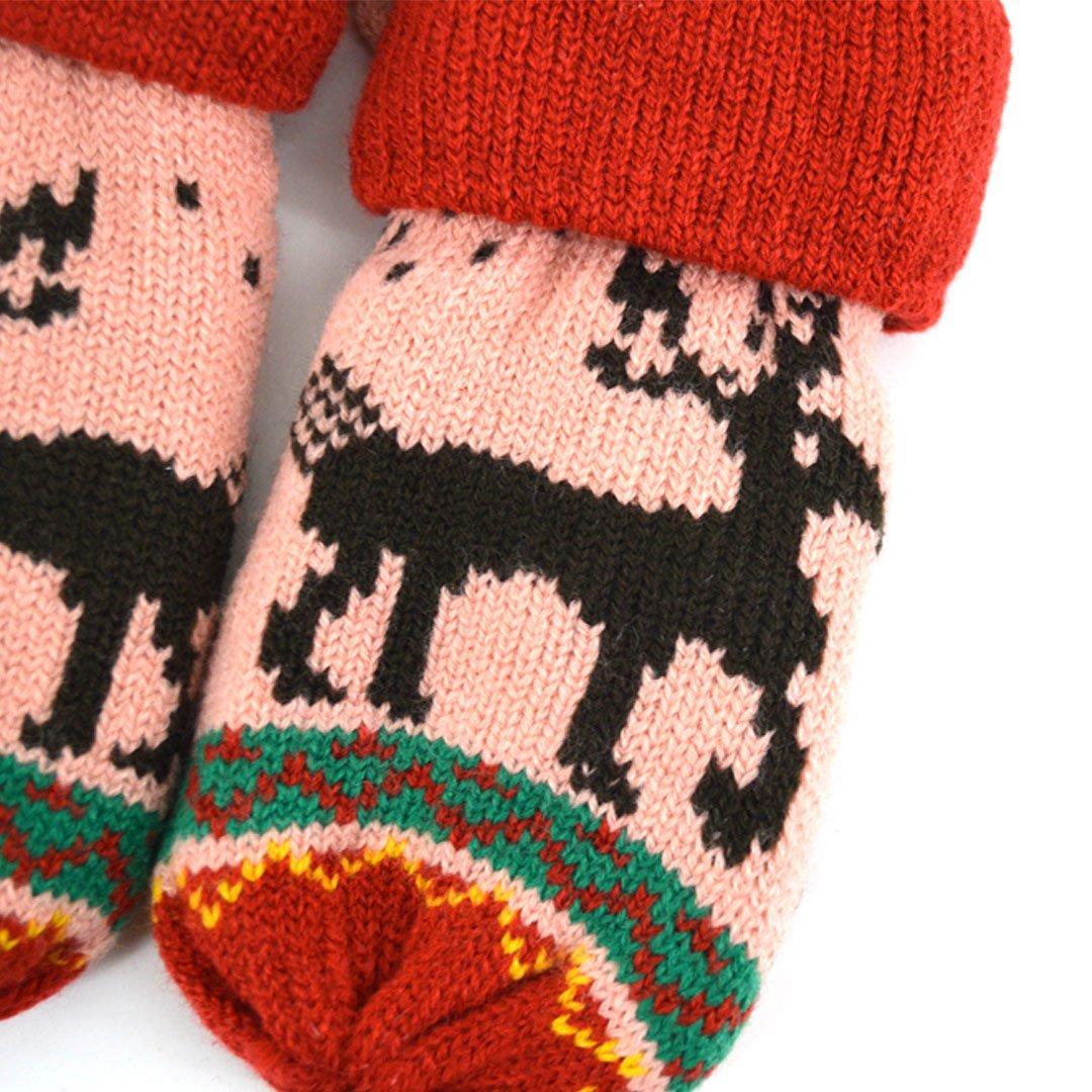 Sherry Children Kids Winter Warm Knitted Mittens Cute Christmas Deer Pattern Gloves