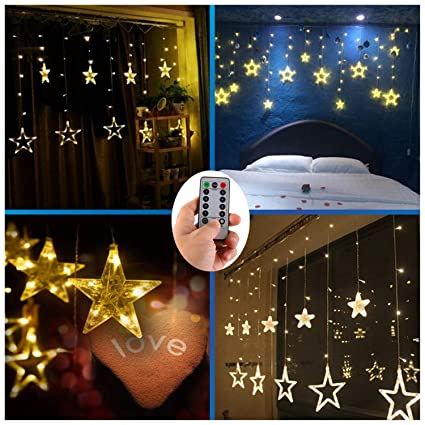 AA Batteries Operated Curtain Lights with Remote,138 LED 12 Star Window  Wall Icicle String - Amazon.com : AA Batteries Operated Curtain Lights With Remote, 138