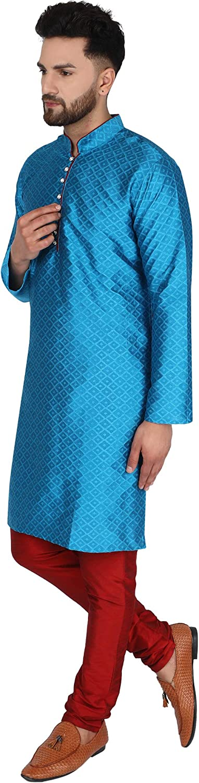 SKAVIJ Herren Tunika Indische traditionelle Kurta Pyjama Party Sommer Hochzeitskleid
