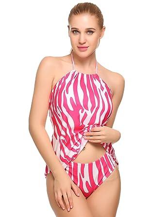 7894e05c52c wearella Women s Tummy Control Swimwear Sexy 2 Piece High Waisted Bathing  Suits Rose Red