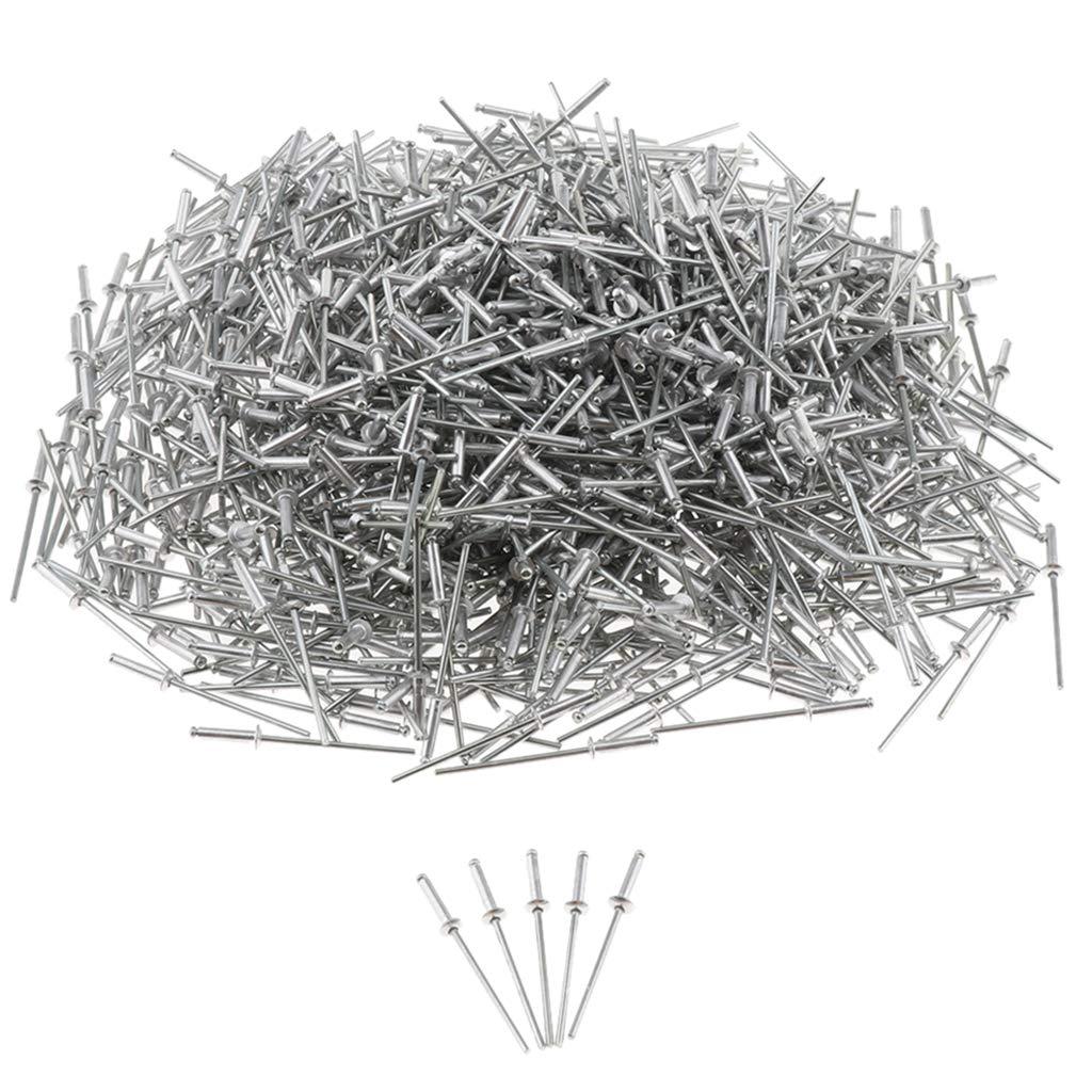 Popnieten Nieten Stahlniete in 8 Verschiedenen Gr/ö/ßen 1000Pcs Edelstahl Blindnieten im Set Silber 2,4x12mm