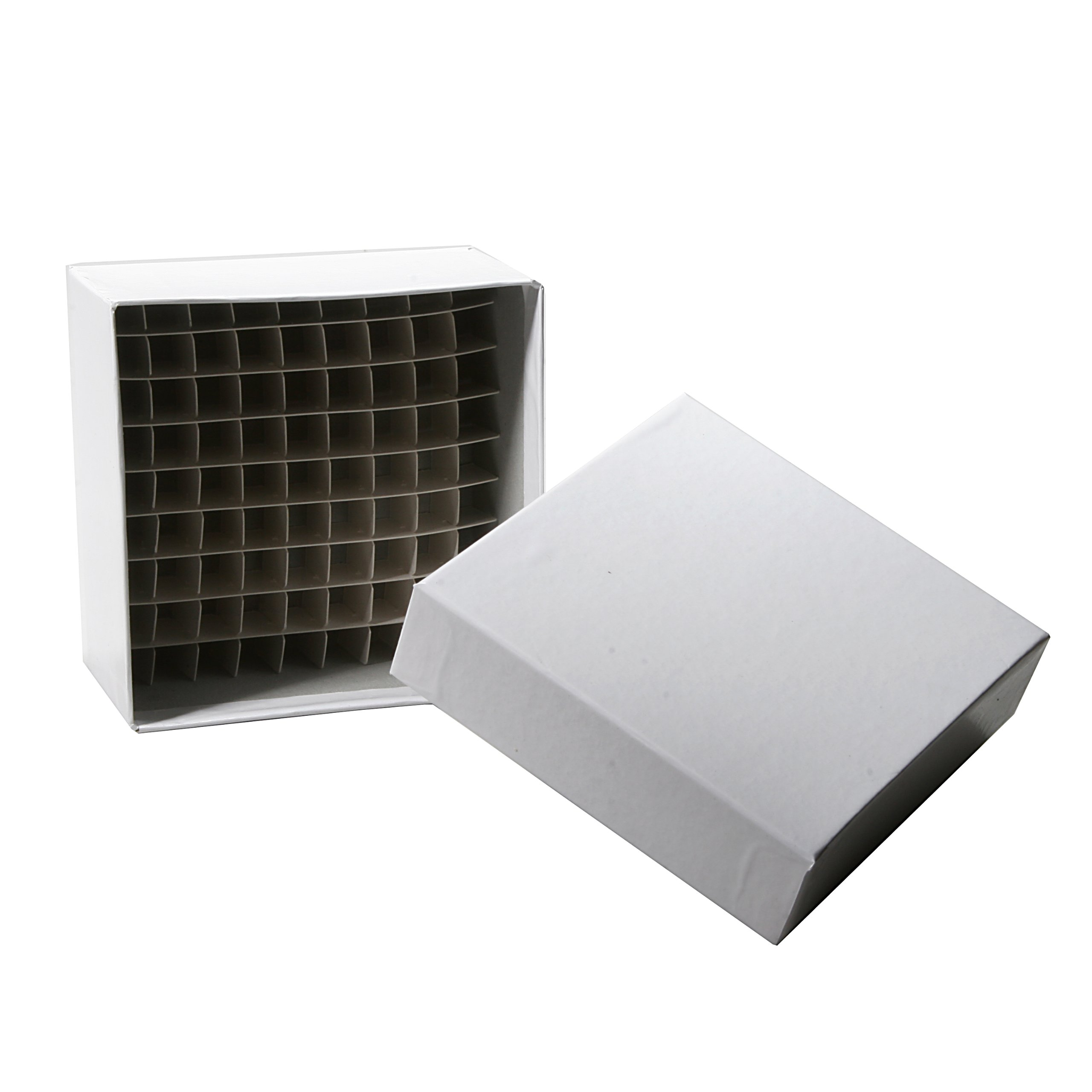 Biologix 90-2281 Cardboard Plasti-Coat Laminated Microcentrifuge Tube Freezer Storage Box, 2'' Height, 81 Places (Case of 100) by BioLogix