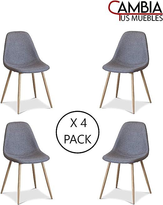 CAMBIA TUS MUEBLES - Pack de 4 sillas Comedor salón KOS tapizadas ...
