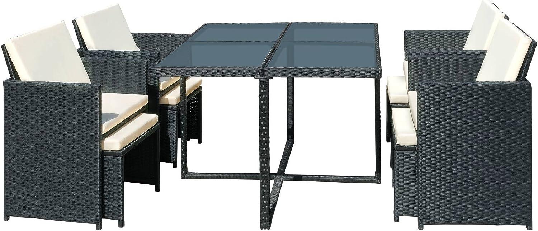 Miadomodo – Conjunto de muebles para jardín - 1 mesa de comedor, 4 ...